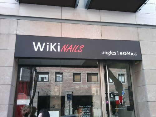 "a shop in Barcelona - WiKi NAILS: ungles i estètica (Catalan for ""nails and aesthetics"")"