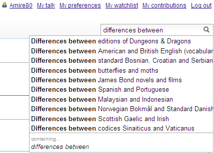 "auto-suggestions at Wikipedia for ""differences between"""