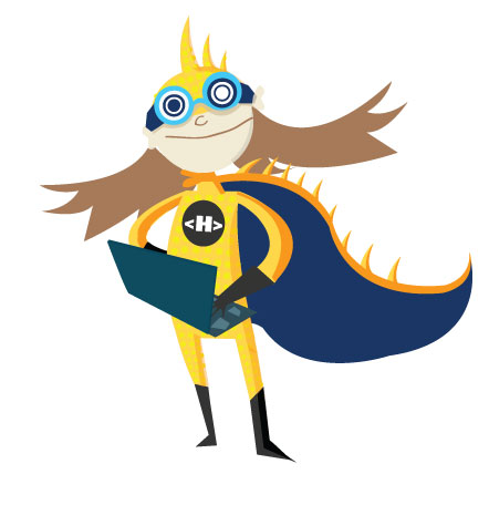The Hackasaurus mascot - a girl with a dinosaur tale wearing goggles and holding a laptop