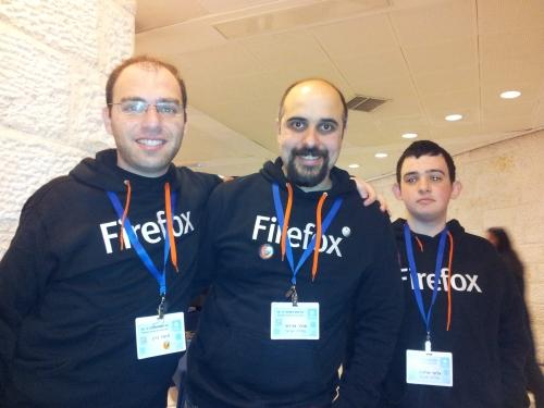 Right-to-left: Elad Alfassa, Amir Aharoni, Tomer Cohen