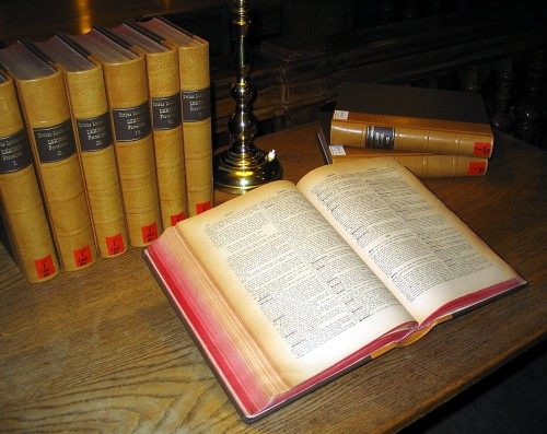 A multi-volume Latin dictionary (Egidio Forcellini: Totius Latinitatis Lexicon, 1858–87) on a table in the main reading room of the University Library of Graz. Picture taken and uploaded on 15 Dec 2005 by Dr. Marcus Gossler.
