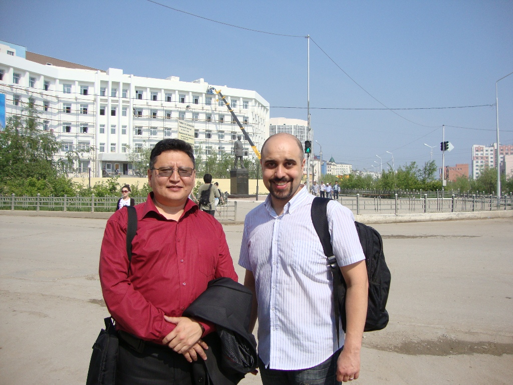 With Nikolai Pavlov, also known as Halan Tul. The unofficial leader of the Sakha Wikipedia and the excellent organizer of my trip to Yakutsk.