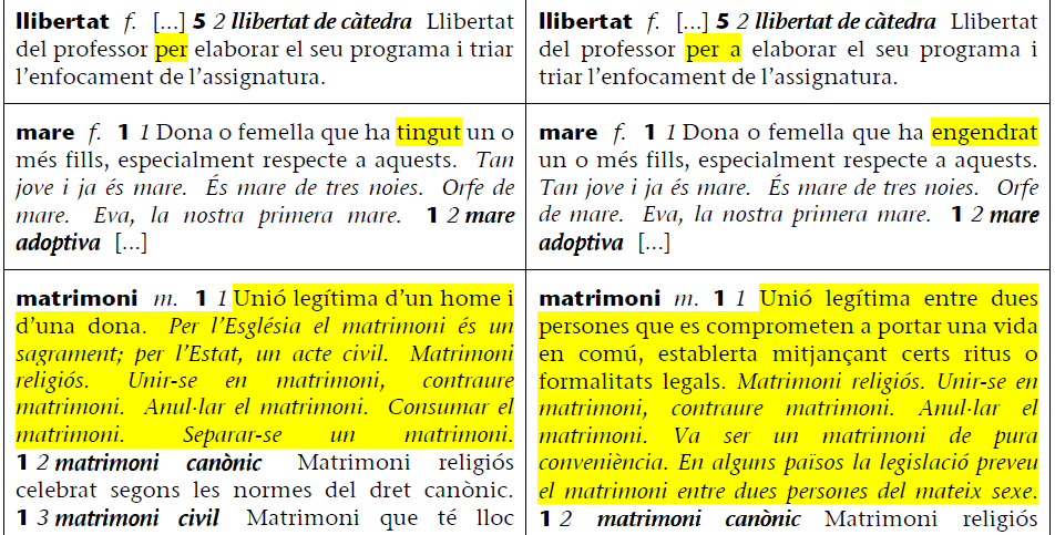 Comparison of two versions of a dictionary definition.