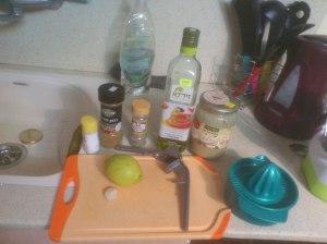 Salt, cumin, pepper, olive oil, tahini, lemon, garlic